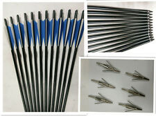 "archery 12x20""aluminum arrows +6pcs fishing broadhead crossbow for hunting"