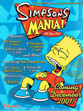 SIMPSONS MANIA TRADING CARDS SELL SHEET