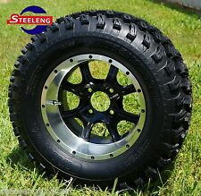 """GOLF CART 12"""" GHOST ALUMINUM WHEELS and 23"""" AT TIRES (SET OF 4)"""
