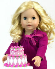 "BIRTHDAY PARTY 2-Tier DOLL CAKE for 15"" & 18"" AMERICAN GIRL & BITTY BABY *NIB*"