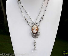 Vintage CAMEO Festoon necklace~Antique Crystal Beads, Rondells & Silver Filigree
