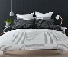 BLACK WHITE GEOMETRIC REVERSIBLE DOUBLE /US FULL bed QUILT DOONA DUVET COVER SET