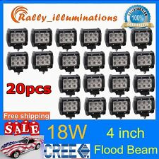 "20X18W Light Bar 4"" Cree LED Flood Motorcycle Work ATV Off-Road Fog Driving UTV"