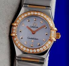 Ladies Omega Constellation 18K ROSE Gold Watch Blue MOP DIAMOND BEZEL - 1368.74