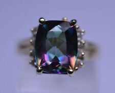 14K YELLOW GOLD 3 CARAT MYSTIC TOPAZ & 8 DIAMOND ACCENT RING SIZE 5.75 HIGH SET