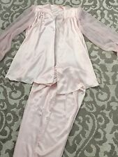 VALENTINO INTIMO PALE PINK SATIN SHEER TIE SLEEVE PAJAMA 2 PIECE SET LARGE