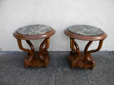 Pair of Round Marble-Top Side Tables / End Tables 5681