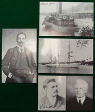 Eva Hart, Millvina Dean Titanic Survivor Signed Postcards + Lightoller Set of 4