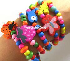 Lotto 5 Bracciali Gioielli Bambini Perle da Colori in Legno Multicolore Ragazza