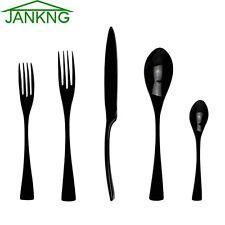 5 Pcs Black Flatware Set Cutlery Silverware Dinner Service Fork Tea Spoon Knife