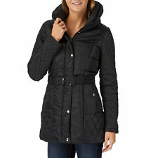 QUALITY SIZE 8 VER0 MODA BLACK QUILTED BELTED FITTED COAT BNWT @ NEXT