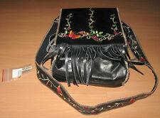 Wilson Wilsons Black Leather Bohemian Boho Fringed Shoulder Tote Bag Rose