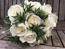 Artificial Silk Flowers Cream / Ivory Roses~Wedding Posy ~ Bouquet  ~Home