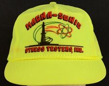 Magna-Sonic Stress Testers Inc Gas Oil Neon Yellow Baseball Hat Cap Adjustable