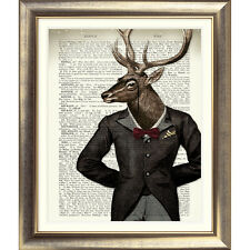 ART PRINT ON ORIGINAL ANTIQUE BOOK PAGE STAG Old ANIMAL Picture Vintage DEER