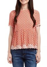 NWT JUICY COUTURE $168 DITSY ISLAND FLORAL Crepe TOP Cayman Orange 8 Black Label
