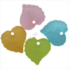 200x Hot Sale Mixed Colorful Heart Leaf Charms Acrylic Spacer Beads Findings J