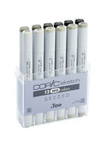 COPIC SKETCH PENS - 12 WARM GREY SET - GRAPHIC ART MARKERS