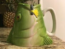 Trout Fish Mug Cup Hand Painted Green Fisherman Goods Gallery Ceramic Novelty