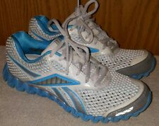 Reebok ZIGNANO Smooth Fit Stable Fit Running Shoes White/blue Womens 6.5 EUC