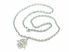 Hamsa Stainless Steel Hand Pendant Charm Chain Good Luck Religious Silver 19""