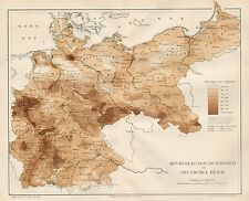 B6137 Deutschen Reich - Population - Carta geografica antica del 1890 - Old map