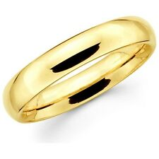 Mens Women Solid 14K Yellow Gold Plain Wedding Band Comfort Fit 5MM Size 10