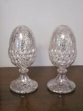 PIER 1 SILVER VINTAGE STYLE MERCURY GLASS FOOTED EASTER EGG ACORN DECOR SET OF 2