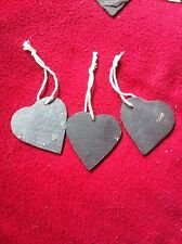 12 Slate Heart Wedding Favours Hanging Name Tag Label Place Markers 60 Mm