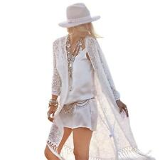 Summer Women's Sunscreen Tassels Vintage Bohemian Lace Cardigan Beach Clothing