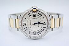CARTIER BALLON BLEU 2 TONE 18k YELLOW GOLD 36MM DIAMOND ENCRUSTED WATCH W6920047
