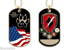 "DOD WORKING DOGS K9 GUARDIENS OF THE NIGHT DOG TAG WITH 24"" CHAIN"
