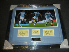 Sergio Agüero Vincent Kompany David Silva Manchester City Firmado Pantalla Aftal