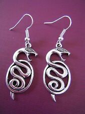 FREE GIFT ** ANTIQUED SILVER DANGLE EARRINGS - Large Snakes