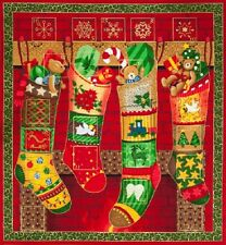 Stockings & Bears Advent Calander Fabric Panel -  Xmas Christmas Panel to make