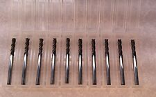 1/8 Tialn Coated 4 flute Solid Carbide Endmill Lot of 10 Tools USA Made