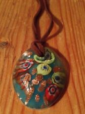 Green Glass Oval Pendant Necklace/Hand Blown? Murano Look?Multicoloured/Kitsch