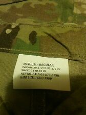 SET ARMY MULTICAM COMBAT SHIRT MEDIUM long and .  pants  are medium regular  NEW