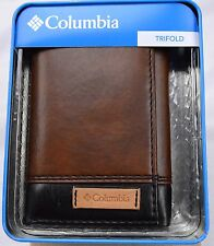 Wallet Columbia Trifold Smooth Leather Brown Gift Box Billfold Men NIB