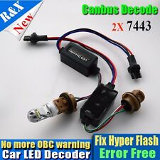 2xT20 7443 7440 LED Light Bulb Warning Decoder Canceler Load Resistor Error Free