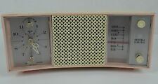 Vintage Retro General Electric Clock Radio - C-495A - Pink White - 1950s