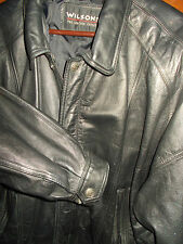 Wilsons Leather Motorcycle Jacket Mens 1X Bomber Coat Black Hipster MC30