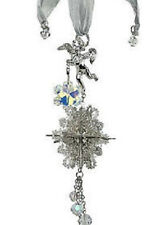 NEW KIRKS FOLLY SNOW ANGEL SNOWFLAKE SPARKLE ORNAMENT SILVERTONE