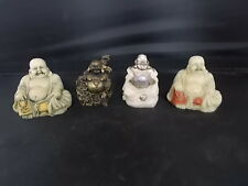 4 x Resin Happy Buddha Figures for Prosperity & Good Luck 3 seated & 1 Standing