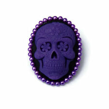 Purple and Black Sugar Skull Brooch, Women's Pin, Cameo, Day of the Dead