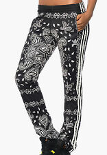 SIZE 6 EXTRA-SMALL  ADIDAS ORIGINALS PAISLEY 3 STRIPES TRACK PANTS - BLACK