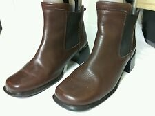HUSH PUPPIES HPO FLEX BROWN LEATHER BLOCK HEEL WINTER ANKLE BOOTS SIZE UK 7 40.5