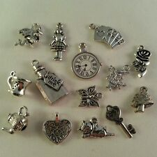 Set of 14 Alice in Wonderland Silver Tone Metal Charms, Buy 3 sets get 1 FREE!!