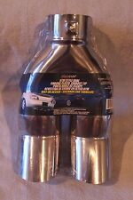 """DUAL OUTLET CHROME EXHAUST PIPE TIP 2 1/4"""" INLET UPWARD SLANT BOLT ON"""