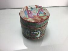 Antique Export Chinese Rose Medallion Porcelain Round Box with Cover Fine 19thc